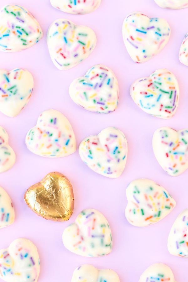 White Chocolate Sprinkle Hearts