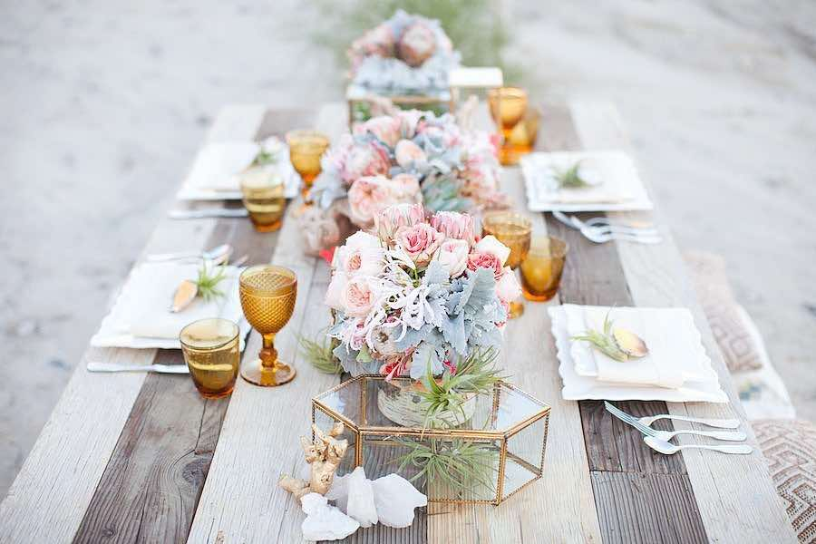 Spring Floral Table Setting with Succulents