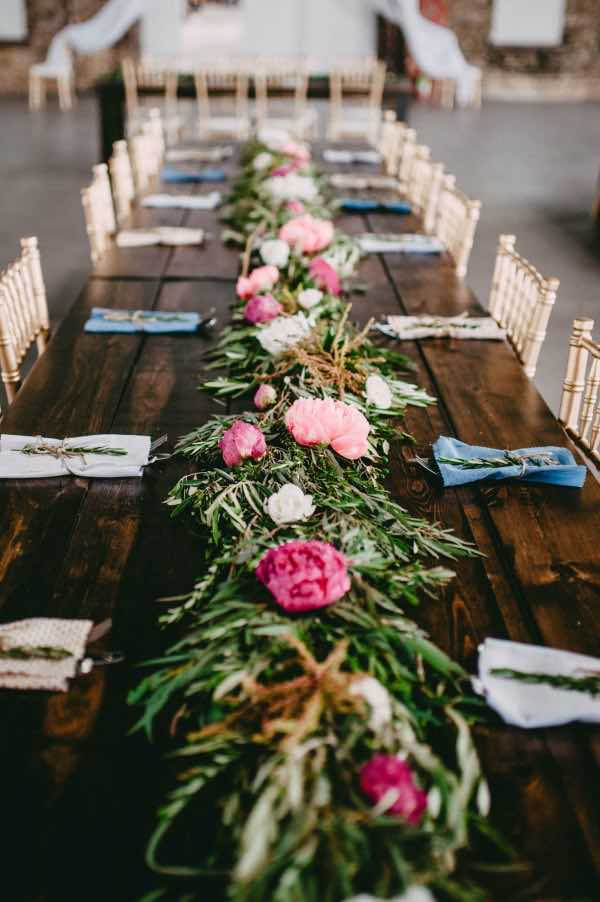 Peonies and Greenery Table Setting