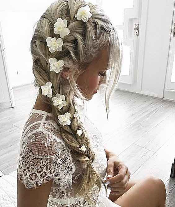 Loose Bridal Braid with White Flowers