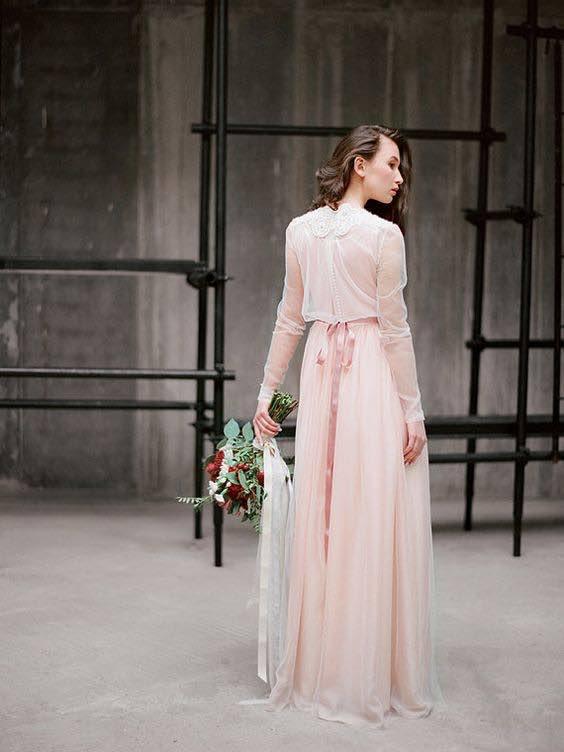 Pink Toned Boho Wedding Dress