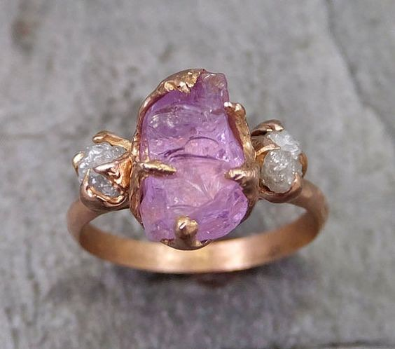 Pink and Gold Engagement Ring