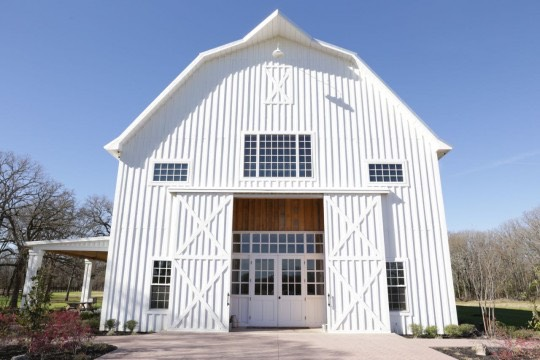 The White Wedding Sparrow Barn Exterior Front