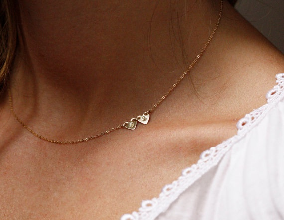 Petite Heart Sideways Necklace