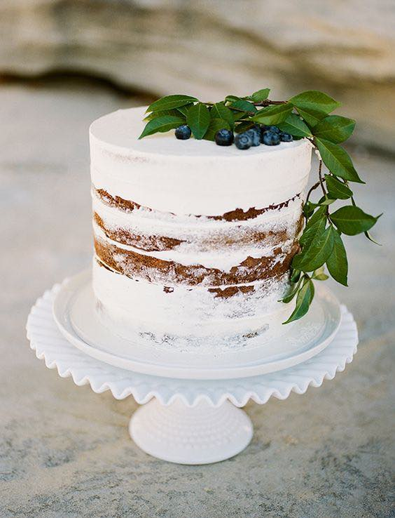 Naked White Minimalist Wedding Cake with Berries