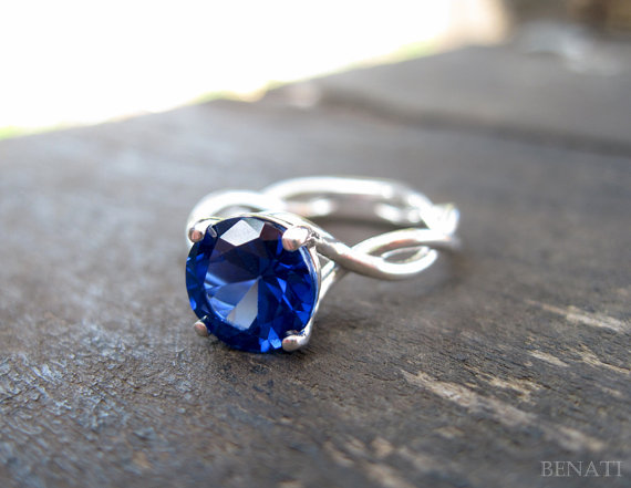 Sapphire Engagement Ring with Infinity Style Band