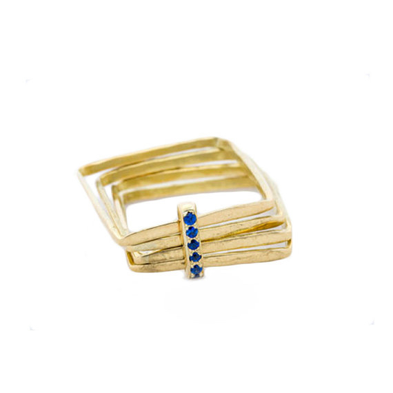 Pave Sapphire Gold Ring