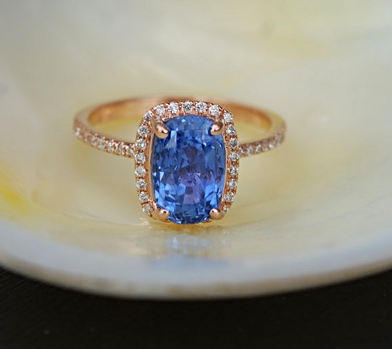 Cornflower Sapphire and Rose Gold Ring