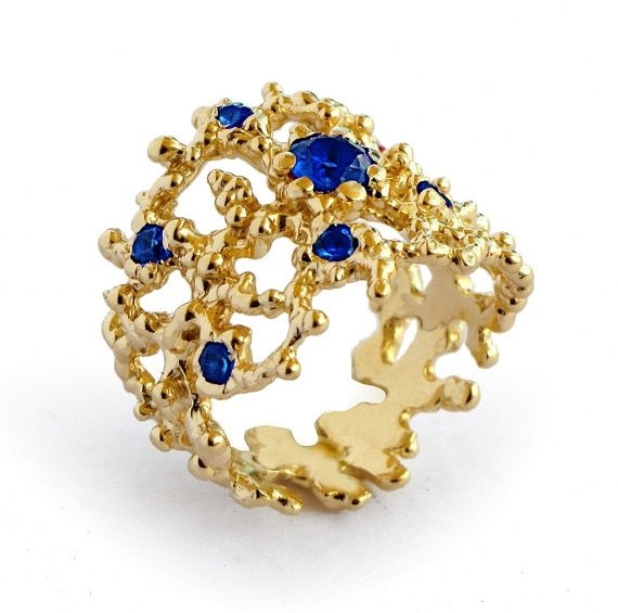 Coral Style Gold and Sapphire Engagement Ring