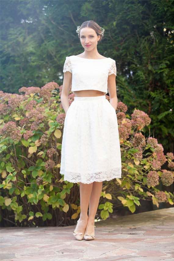 Crop Top Short Wedding Dress