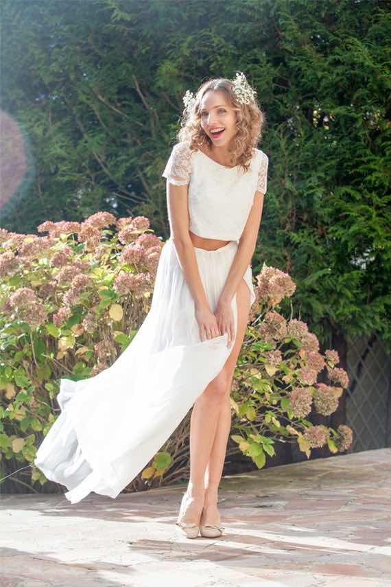 Short Sleeve Crop Top Wedding Dress