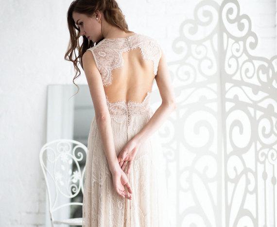 Open Back Lace Boho wedding Dress