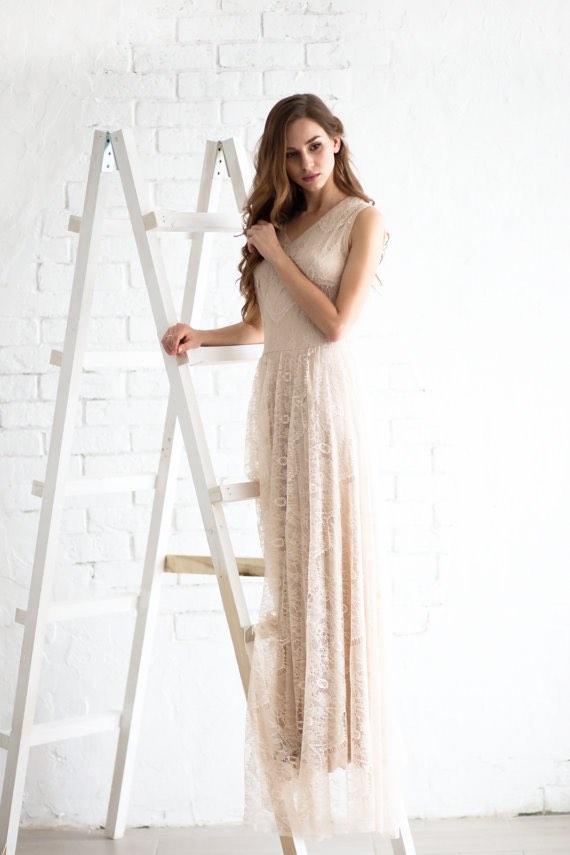 Lace Wedding Dress on Ladder