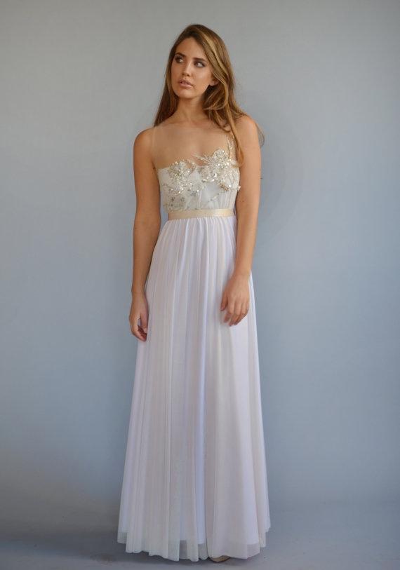 Boho wedding dress with beaded embroidery