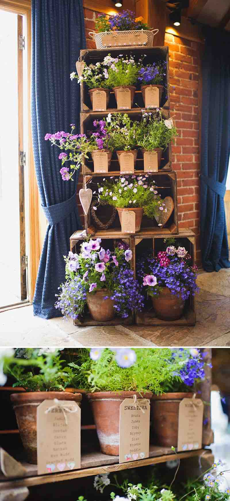 Potted Flowers in Stacked Crates