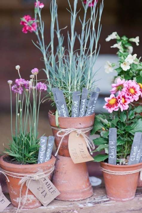 Terracotta Pots as a Table Plan