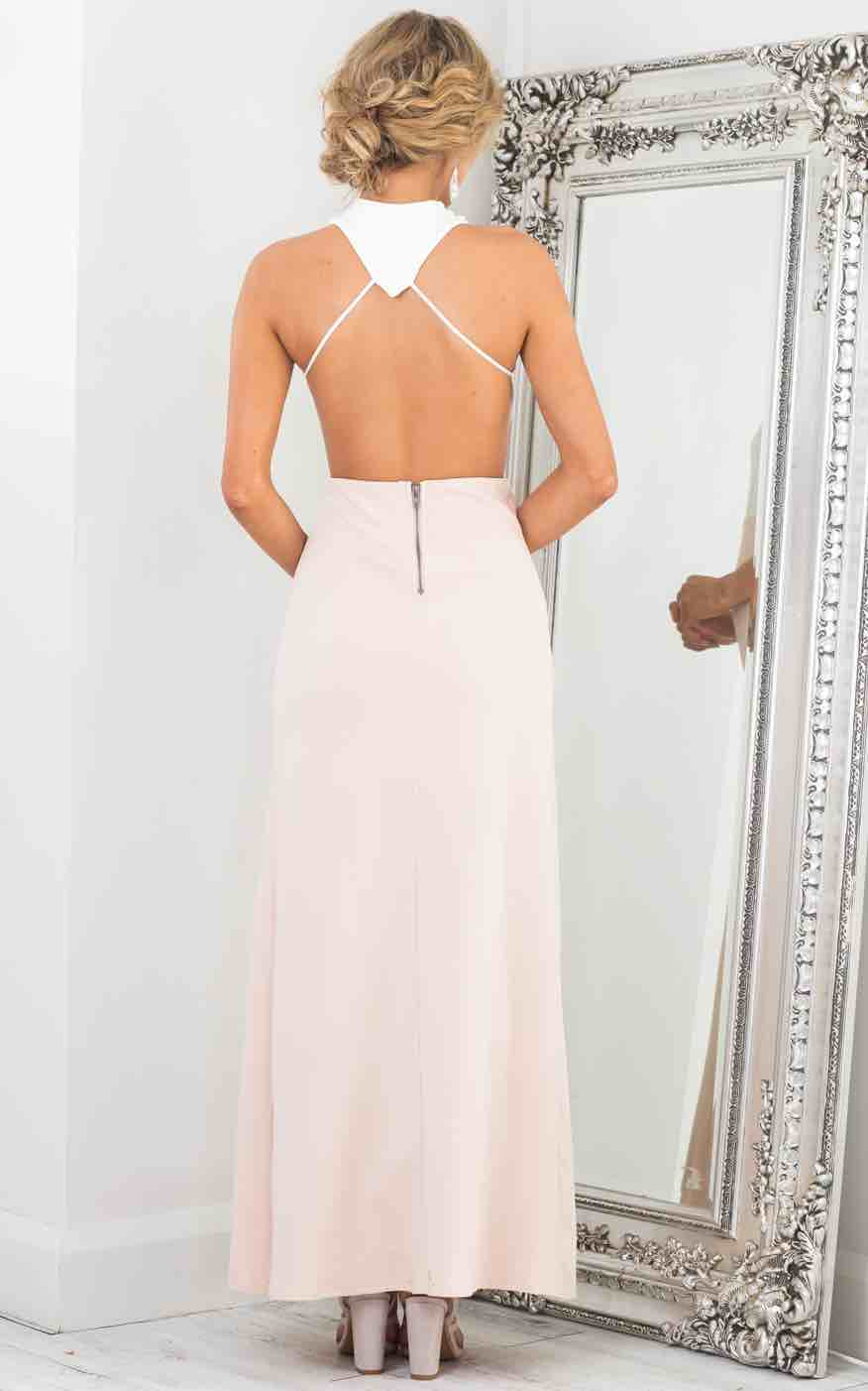 Back Out Maxi Dress in White and Blush Back View
