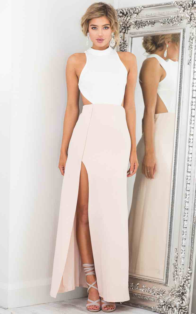 Back Out Maxi Dress in White and Blush