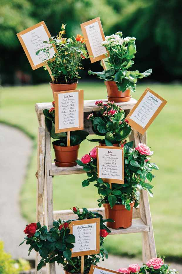 Ladder with Flower Table Plan Display