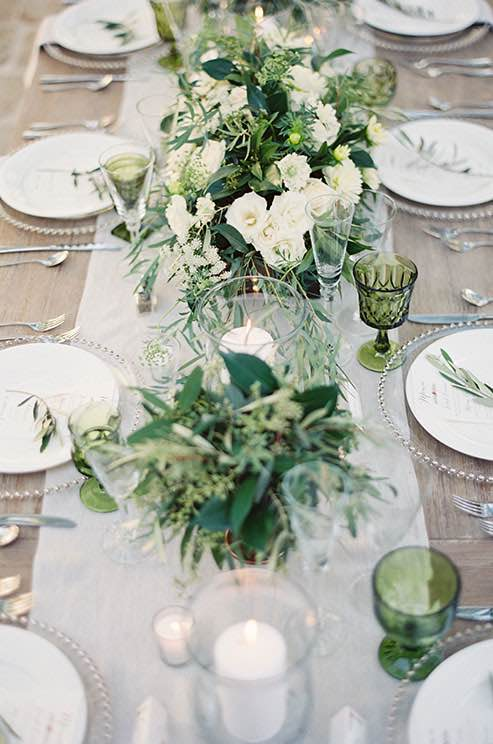 Green and White Botanical Rustic Table Setting