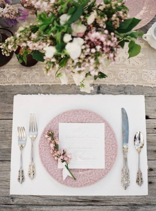 Pale Pink Rustic Table Setting