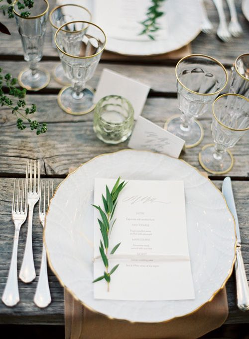 White and Gold Table Setting