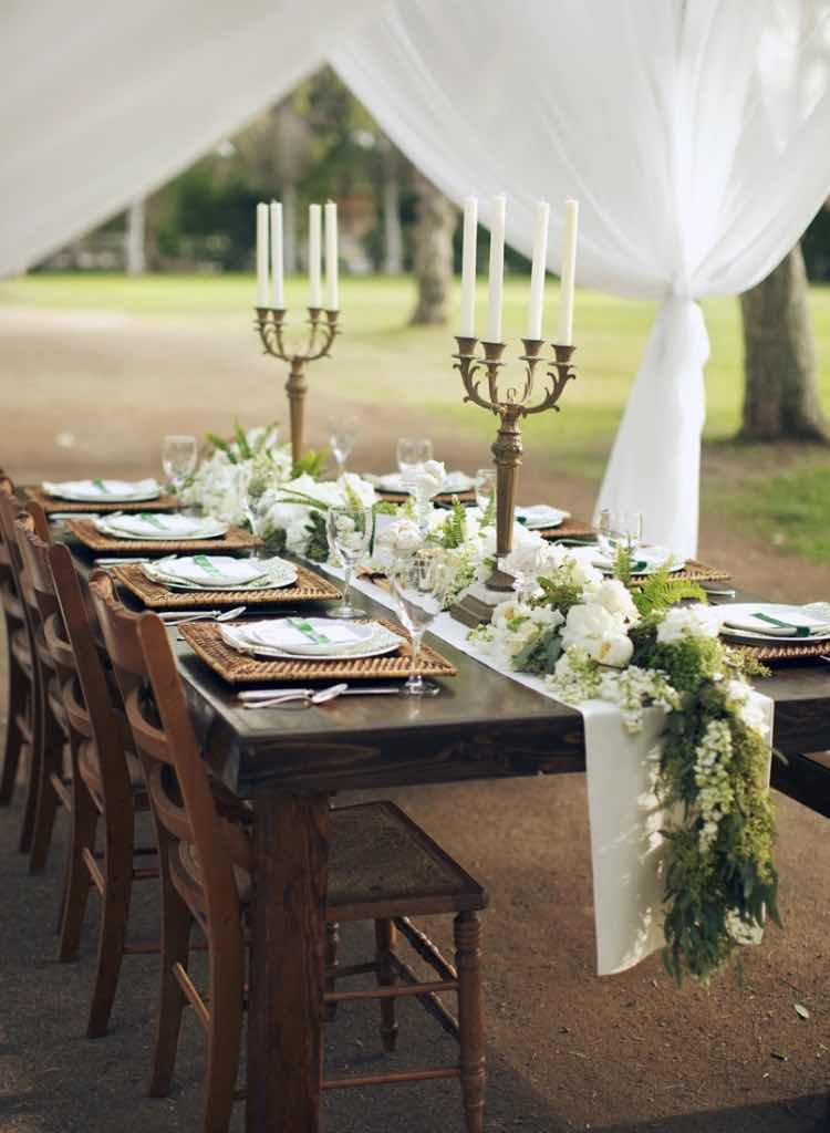White Candles and Outdoor Table Setting