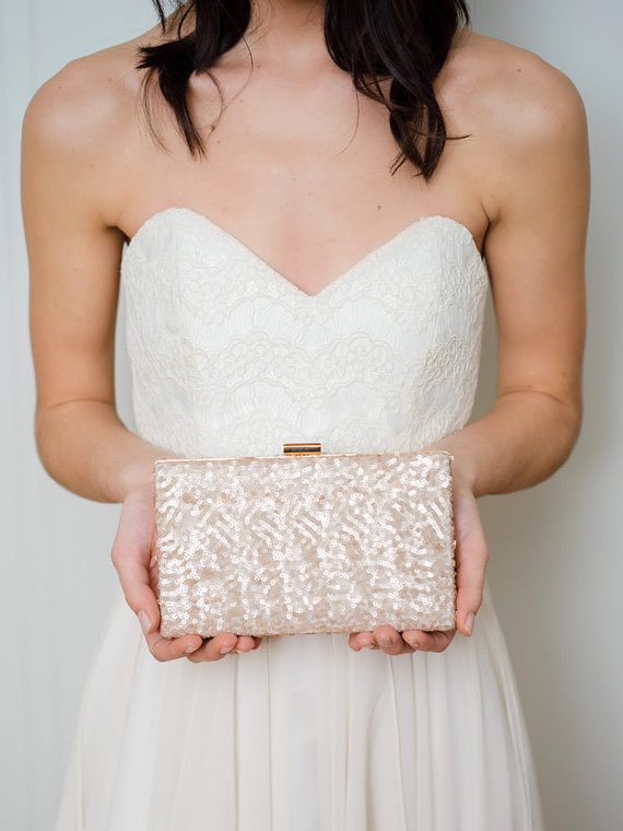 Rose Gold Sequin Box Clutch