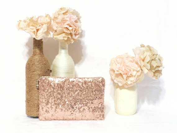 Simple Rose Gold Sequin Clutch