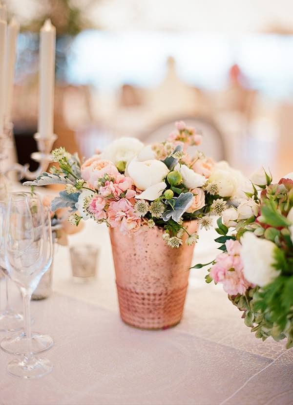 Rose Gold Vase with Flowers
