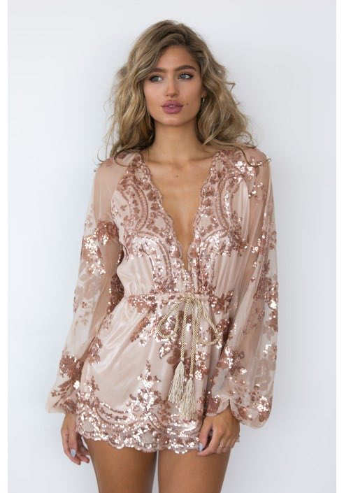 Rose Gold Sparkle Mini Dress