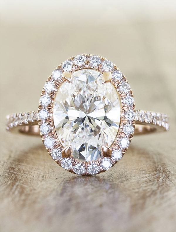 Oval Diamond Engagement Ring in Rose Gold