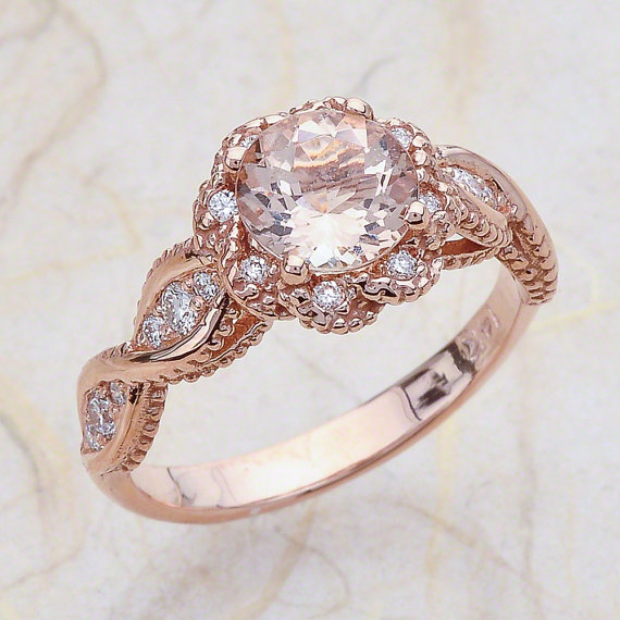 Vintage Morganite Rose Gold Engagement Ring