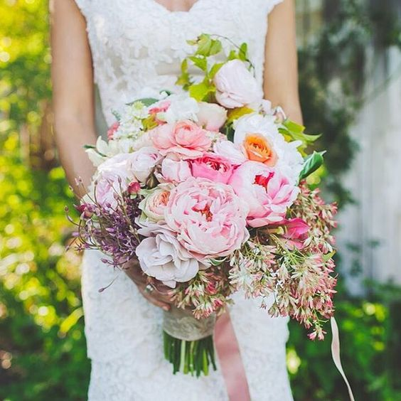 White and Pink Floral Wedding Bouquet