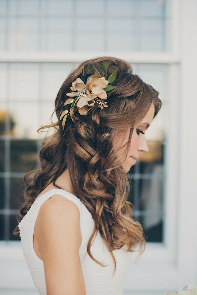 Half-up Hairstyle with Side Flowers