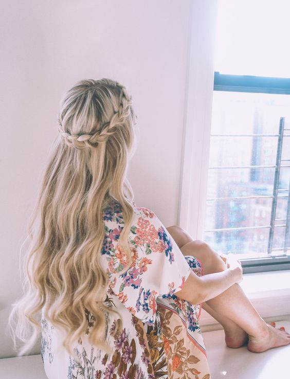 Half-up Half-down Hairstyle with Braided Crown