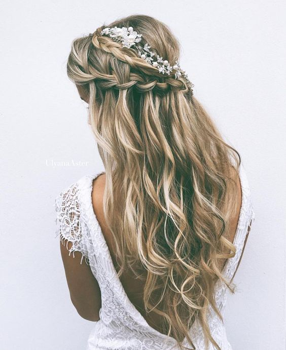 Half-up Half-down Wedding Hairstyle with Two Braids