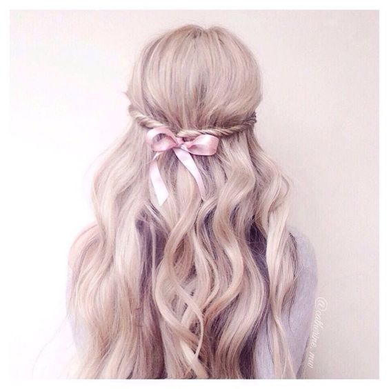 Half-up Hairstyle with Bow and Twist