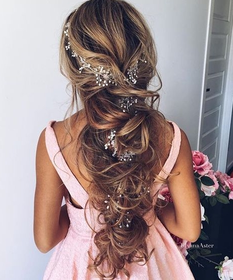 Half-up Half-down Wedding Hairstyle with Flower Details