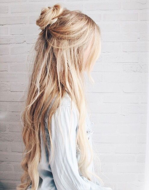Half-up Hairstyle with Textured Bun