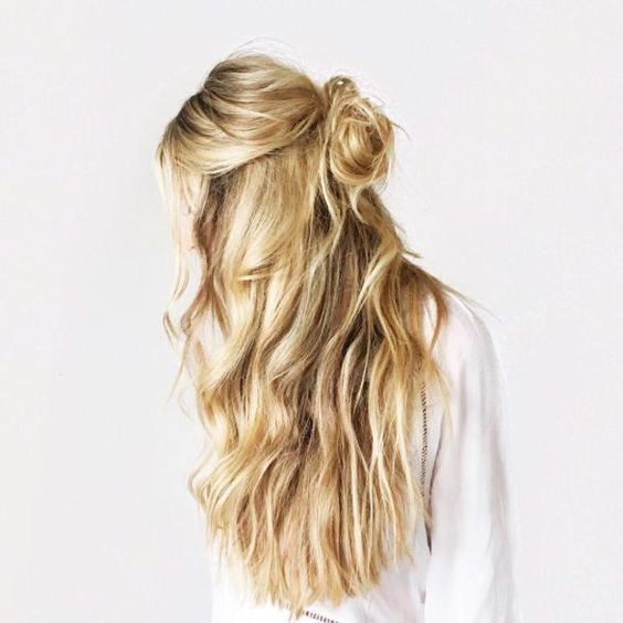 Half-up Hairstyle with Soft Messy Bun