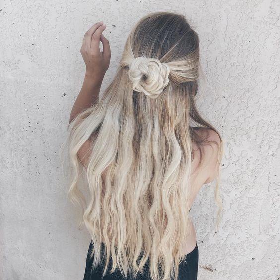 Half-up Half-down Hairstyle with Braided Bun