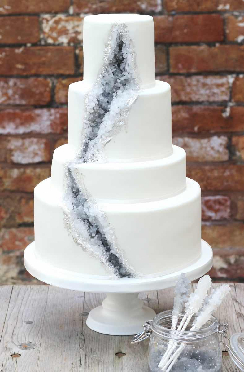 Grey and White Wedding Cake with Geode