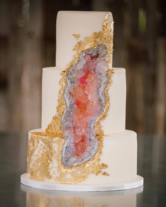 Gold and Pink Geode Wedding Cake