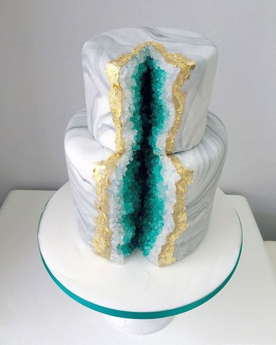 Marble Wedding Cake with Green and Gold Geode