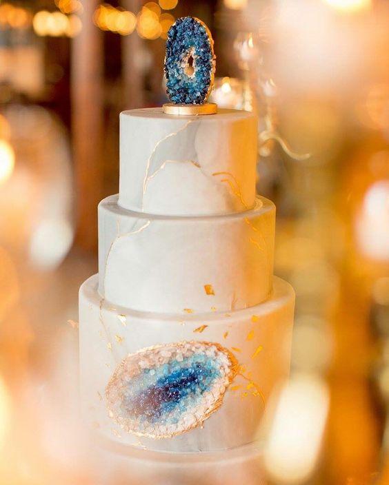 Geode Wedding Cake with Navy Geode Topper