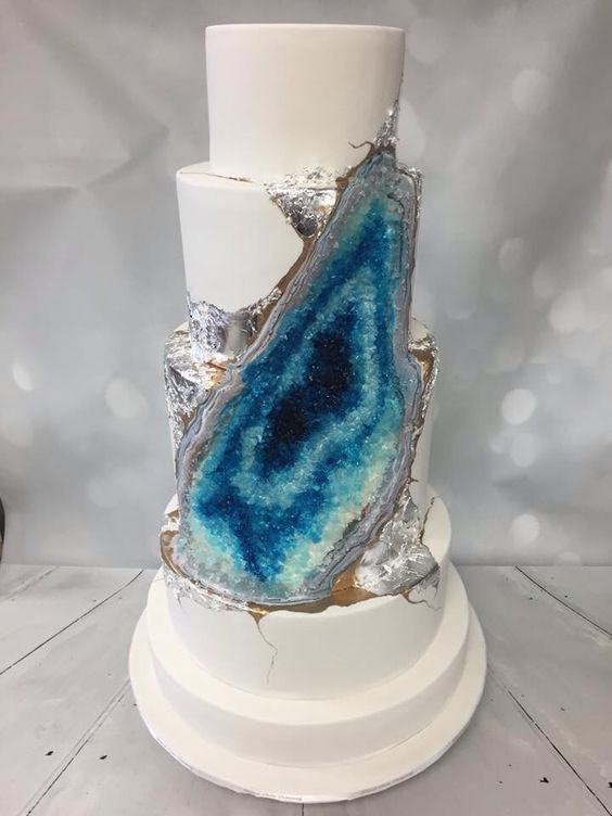 Blue and Silver Geode Wedding Cake