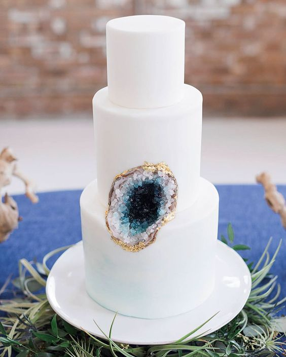 Thee Tier Wedding Cake with Single Blue Geode