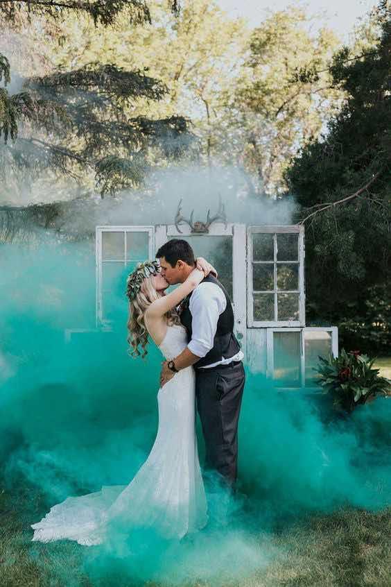 rookfakkels voor een bruiloft