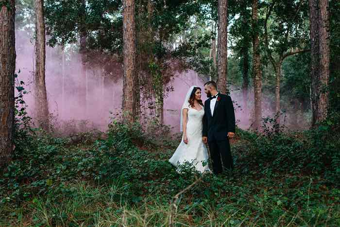 Pink Smoke Bomb in the Woods